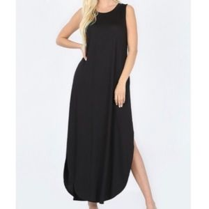 Two Pocket Maxi Dress With Curved Side Slits